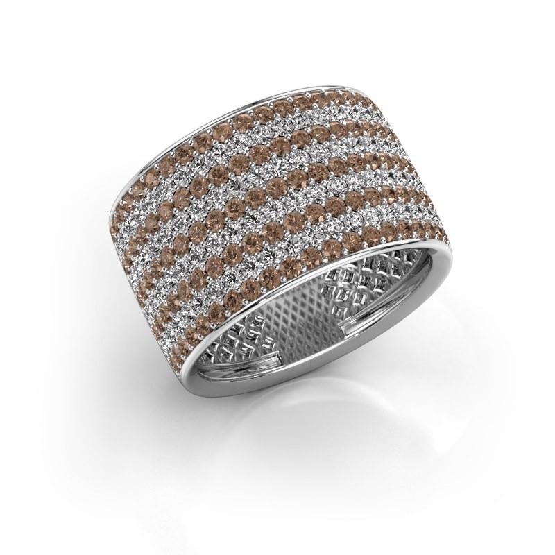 Ring Macy 950 platina bruine diamant 2.26 crt