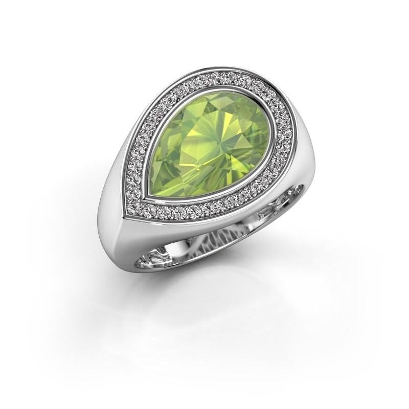 Ring Latashia 375 witgoud peridoot 12x8 mm