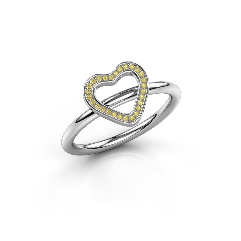 Ring Initial heart 375 witgoud gele saffier 0.8 mm