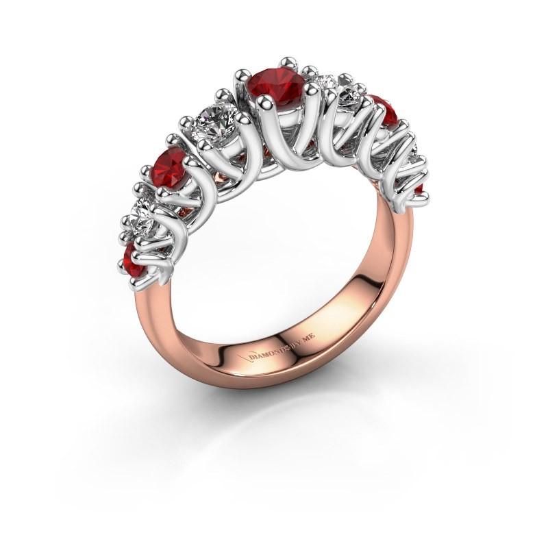 Verlovingsring Fatima 585 rosé goud robijn 3.7 mm