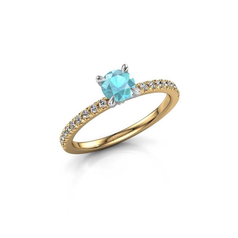Verlovingsring Crystal rnd 2 585 goud blauw topaas 5 mm