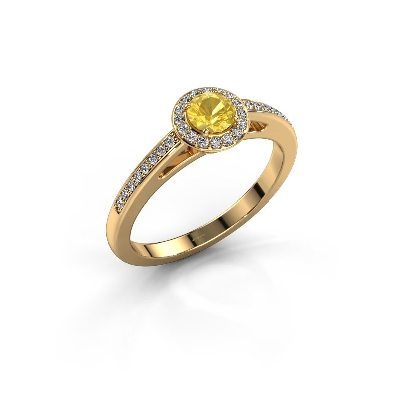 Engagement ring Aaf 375 gold yellow sapphire 4.2 mm