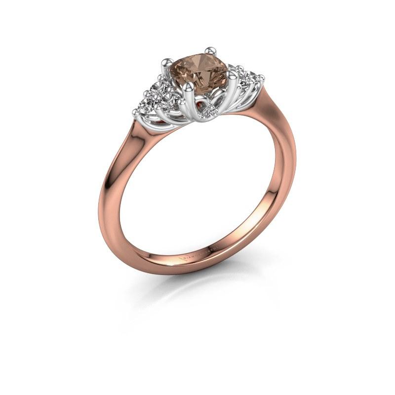 Verlovingsring Felipa CUS 585 rosé goud bruine diamant 0.693 crt