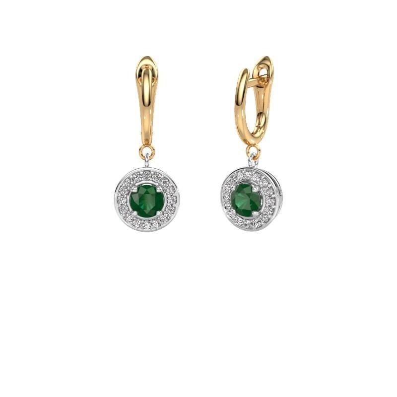 Drop earrings Ninette 1 585 white gold emerald 5 mm