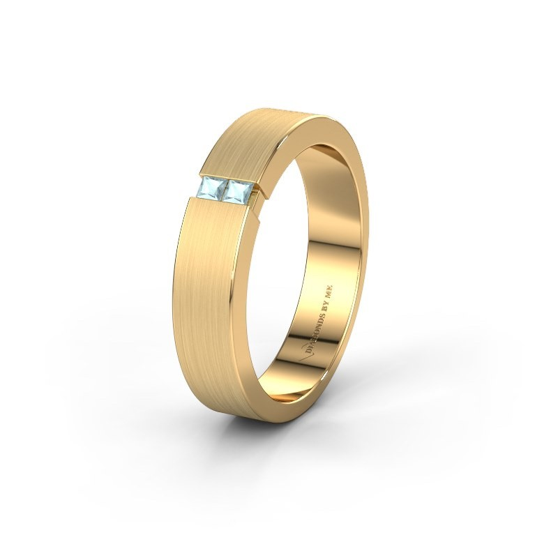 Wedding ring WH2136M15E 375 gold aquamarine ±5x2.4 mm