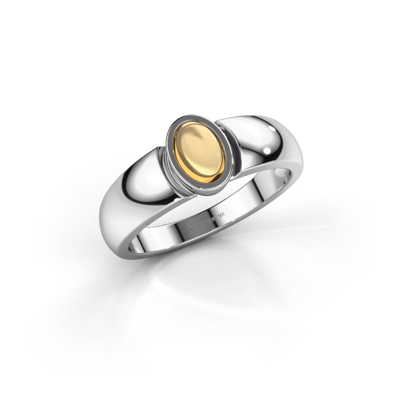 Ring Tonneke 925 silver citrin 6x4 mm
