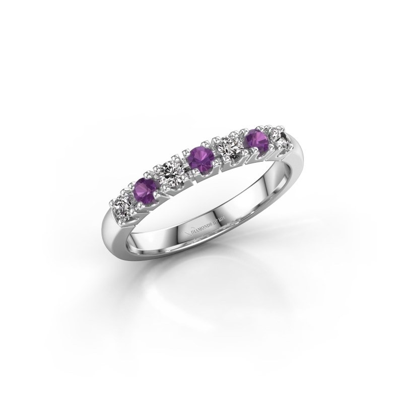 Engagement ring Rianne 7 585 white gold amethyst 2.4 mm