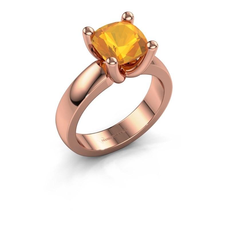Ring Clelia CUS 585 rosé goud citrien 8 mm