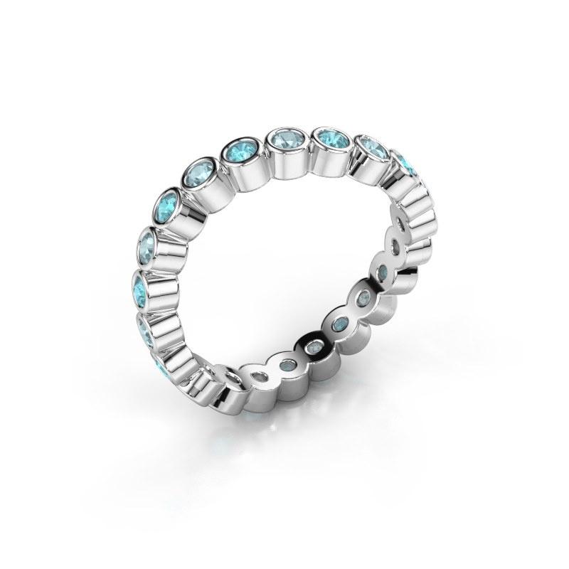 Ring Liz 585 witgoud blauw topaas 2 mm