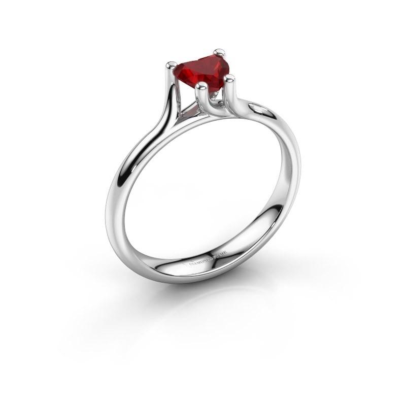 Verlobungsring Dewi Heart 585 Weißgold Rubin 5 mm