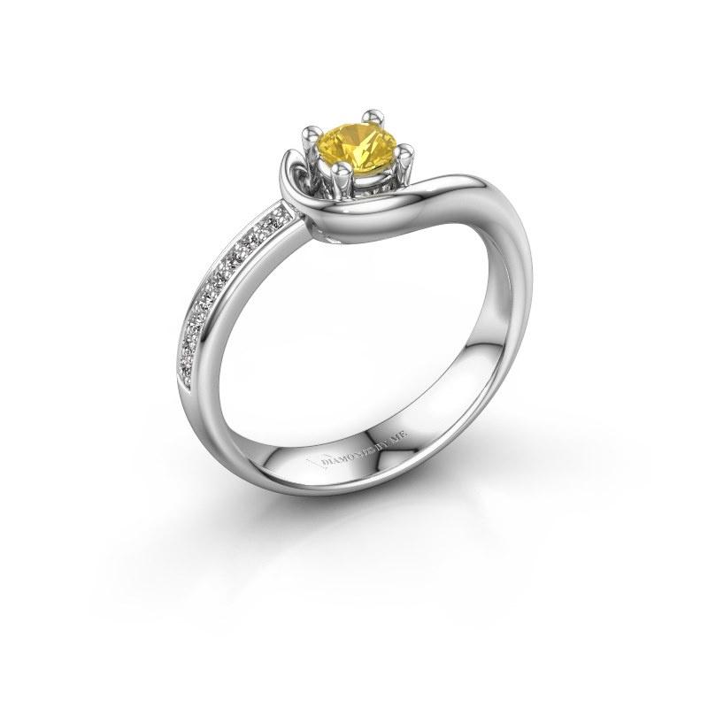 Ring Ceylin 925 zilver gele saffier 4 mm