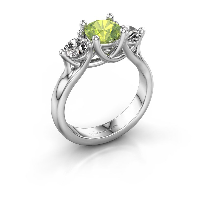 Engagement ring Esila 925 silver peridot 6.5 mm