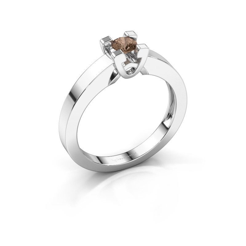 Verlovingsring Nina 1 585 witgoud bruine diamant 0.20 crt