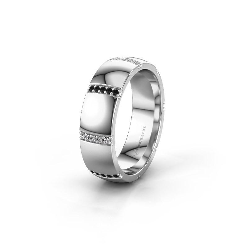 Wedding ring WH2124L26B 585 white gold black diamond ±6x2 mm