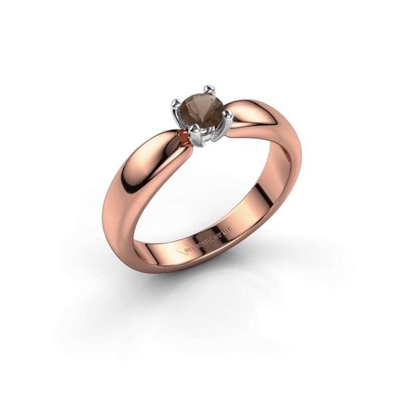 Promise ring Katrijn 585 rosé goud rookkwarts 4.2 mm