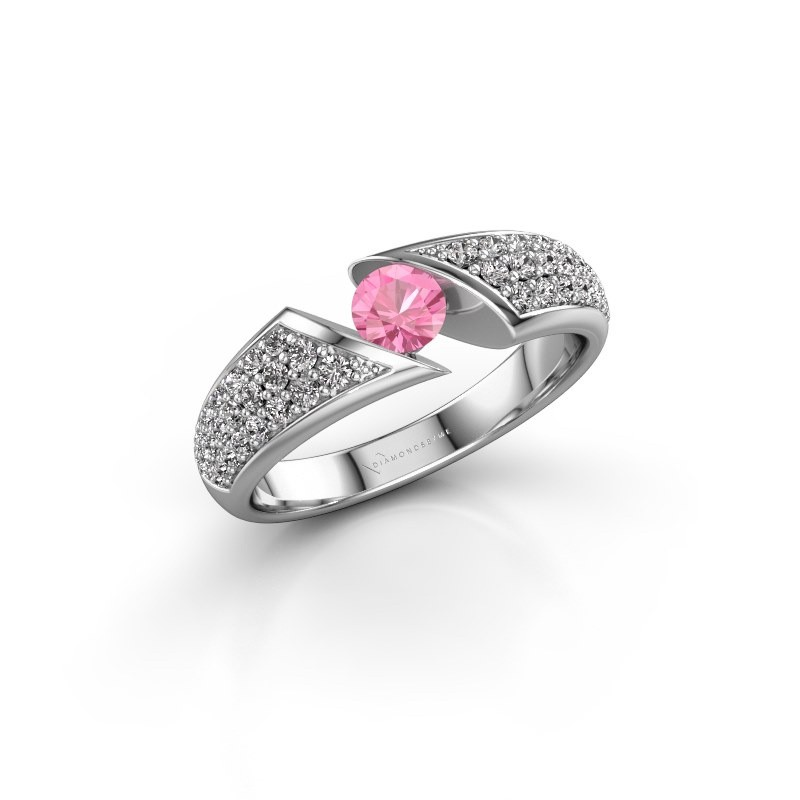 Engagement ring Hojalien 3 585 white gold pink sapphire 4.2 mm
