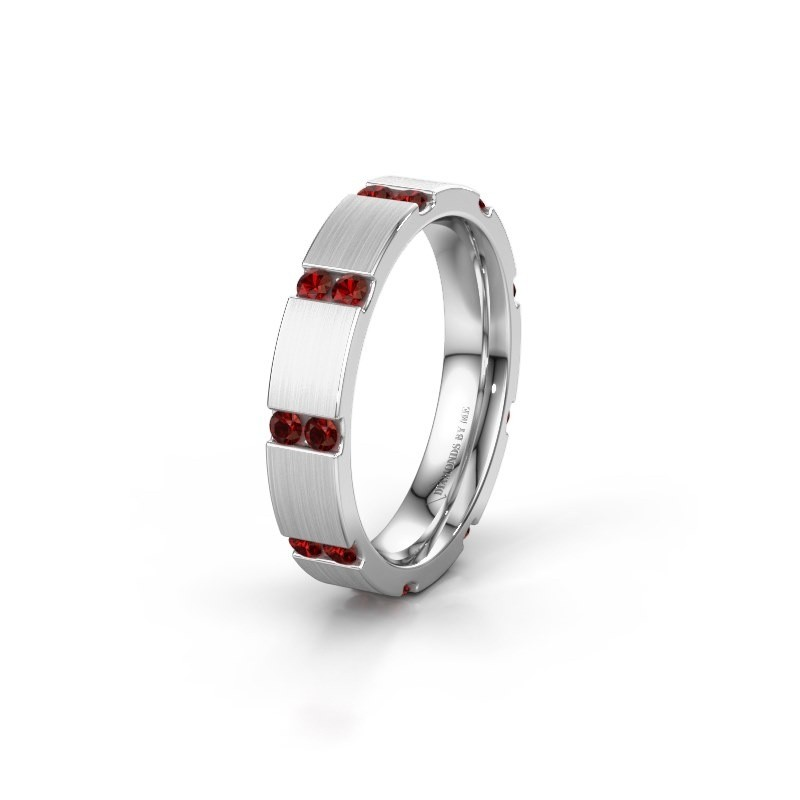 Weddings ring WH2132L14BM 585 white gold garnet ±4x2.2 mm
