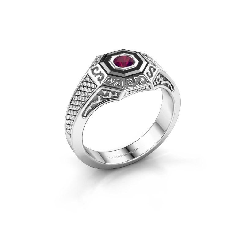 Men's ring Dion 925 silver rhodolite 4 mm