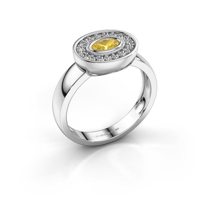 Ring Azra 925 silver yellow sapphire 5x3 mm
