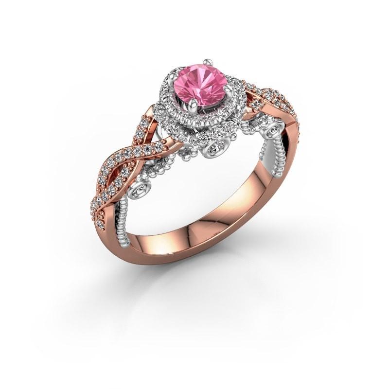 Verlobungsring Leora 585 Roségold Pink Saphir 4.7 mm