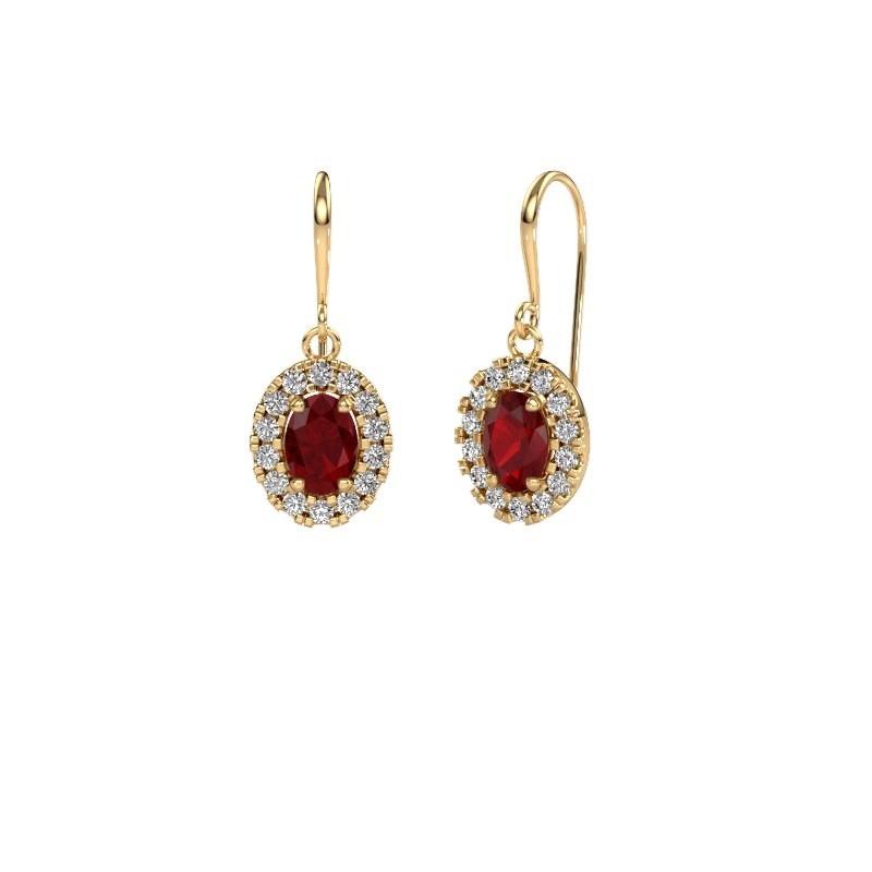 Oorhangers Jorinda 1 585 goud robijn 7x5 mm