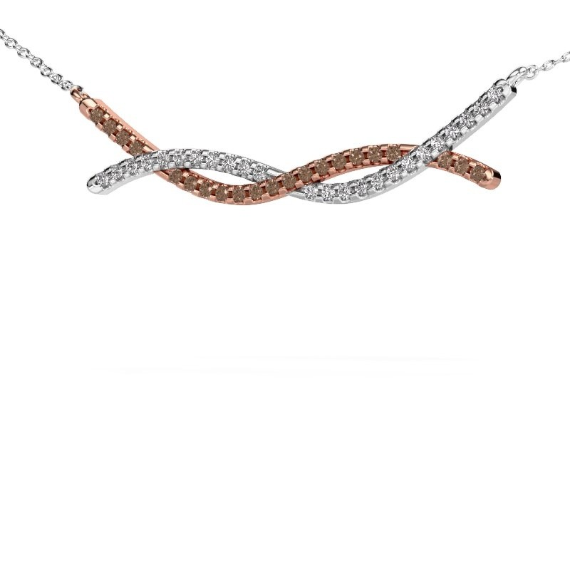 Collier barre Breanne 585 or rose diamant brun 0.338 crt