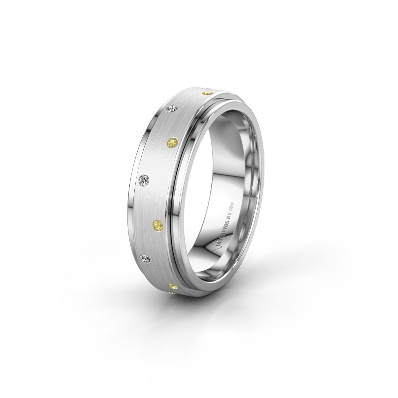 Wedding ring WH2134L 925 silver yellow sapphire ±6x2.2 mm