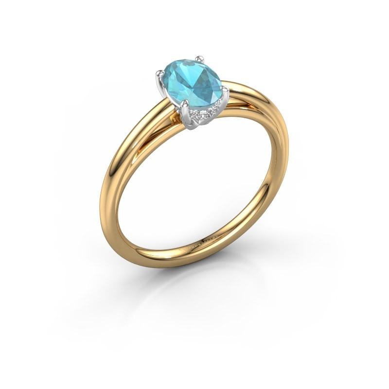 Verlovingsring Haley OVL 1 585 goud blauw topaas 7x5 mm