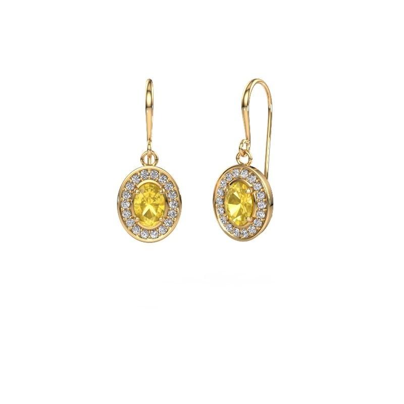 Oorhangers Layne 1 375 goud gele saffier 6.5x4.5 mm