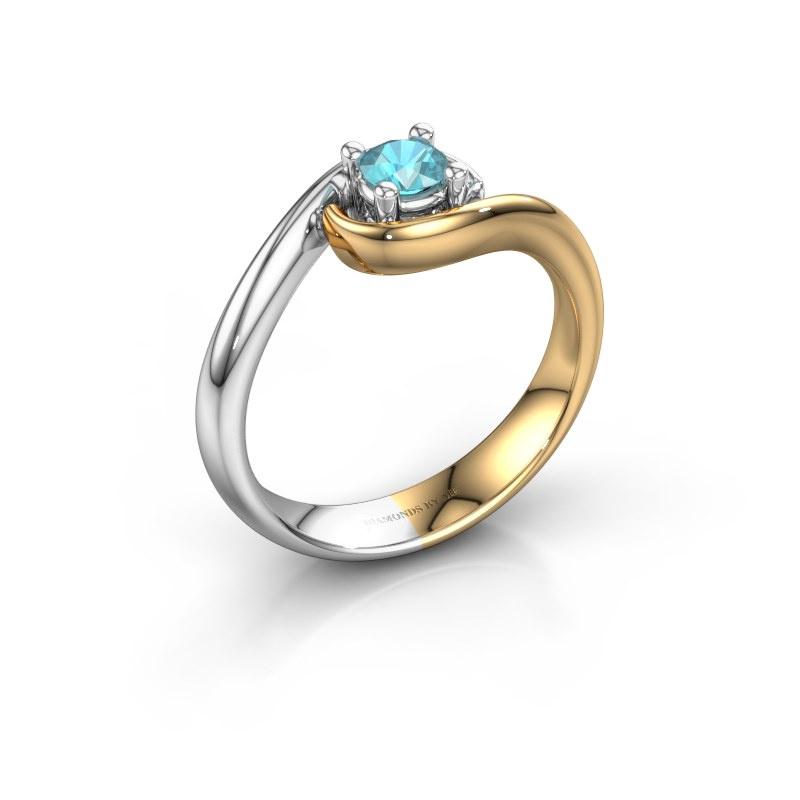 Ring Linn 585 gold blue topaz 4 mm