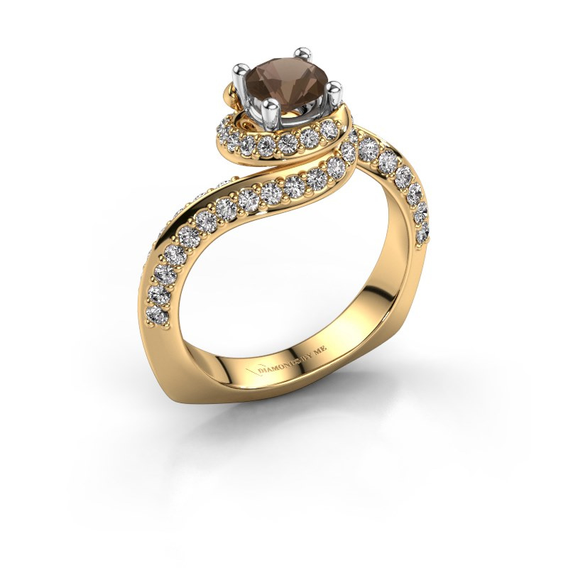 Engagement ring Sienna 585 gold smokey quartz 5 mm