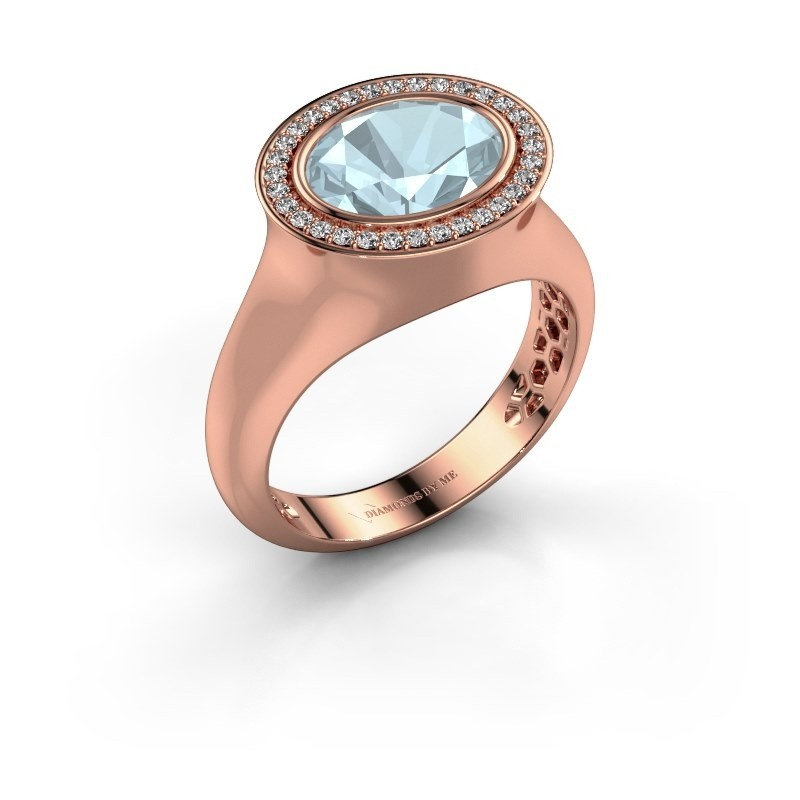 Ring Phebe 375 rosé goud aquamarijn 10x8 mm