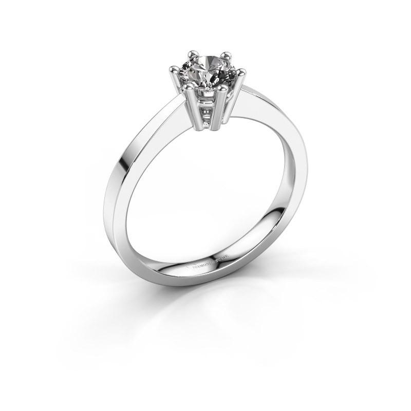 Engagement ring Noortje 585 white gold diamond 0.40 crt