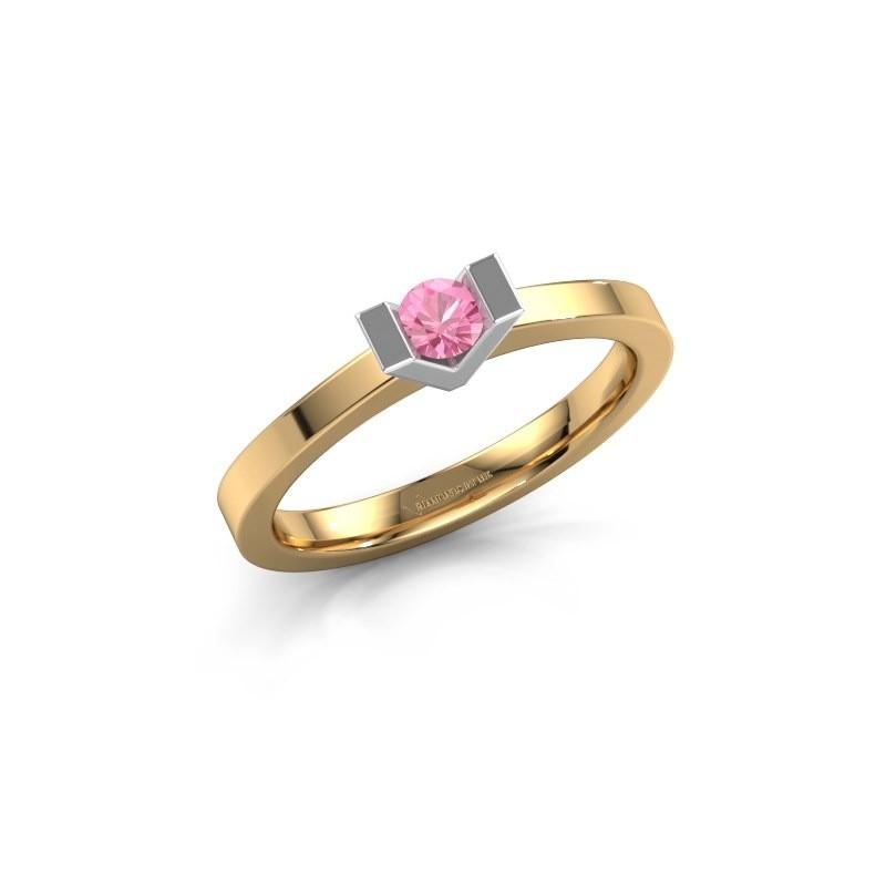 Aanzoeksring Sherley 1 585 goud roze saffier 3.4 mm