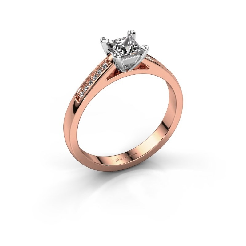 Engagement ring Nynke SQR 585 rose gold zirconia 4 mm