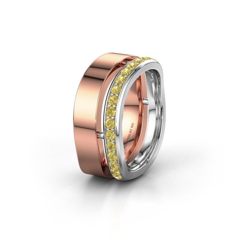 Huwelijksring WH6008L18BP 585 rosé goud gele saffier ±10x2 mm