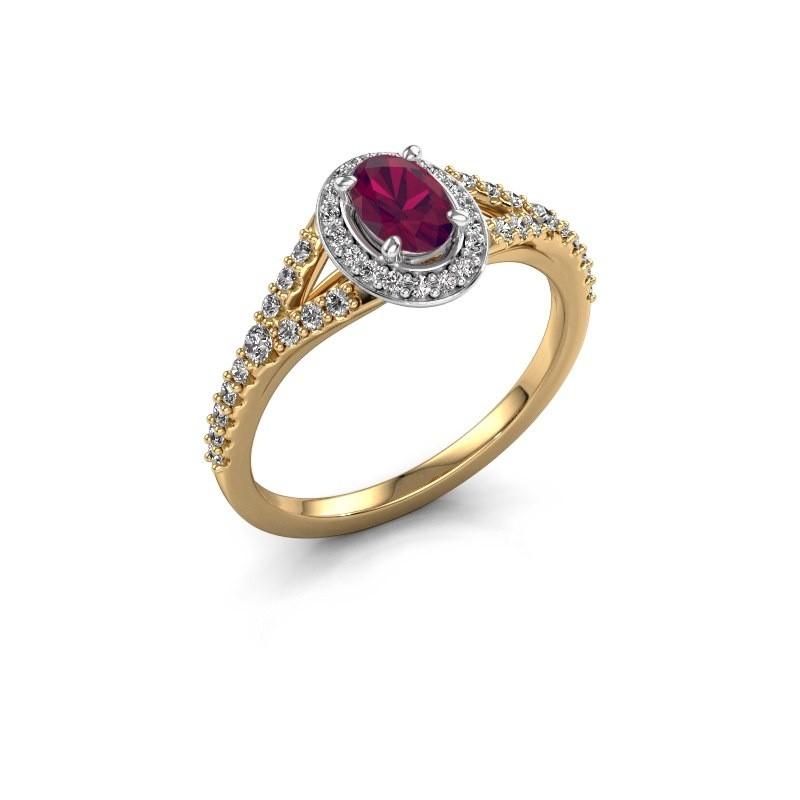 Belofte ring Pamela OVL 585 goud rhodoliet 7x5 mm