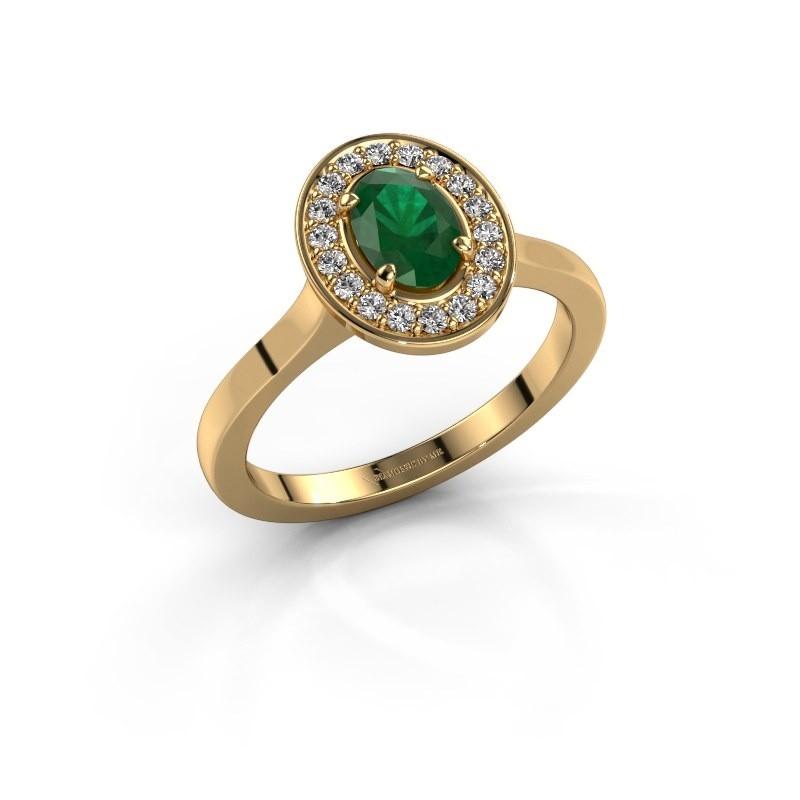 Ring Madelon 1 585 goud smaragd 7x5 mm