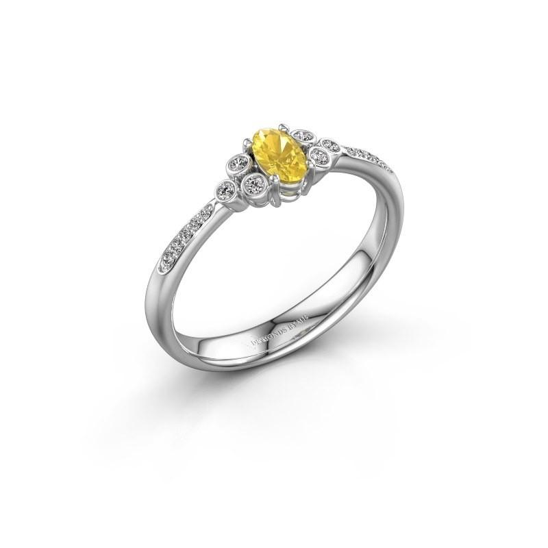 Verlobungsring Lucy 2 585 Weißgold Gelb Saphir 7x5 mm