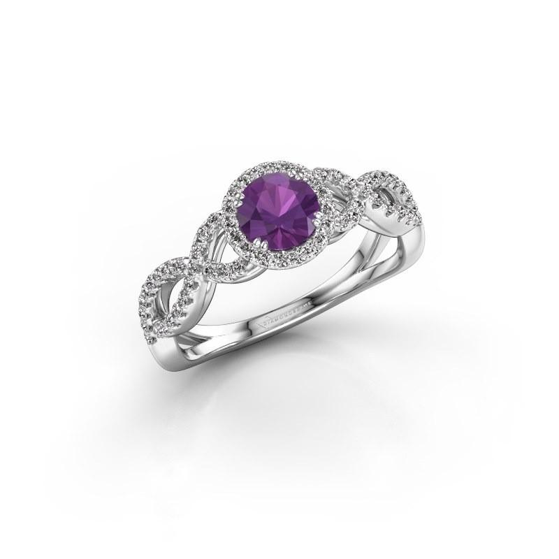 Engagement ring Dionne rnd 925 silver amethyst 5 mm