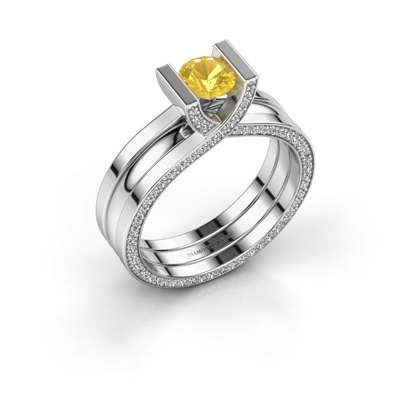Verlovingsring Kenisha 925 zilver gele saffier 5 mm