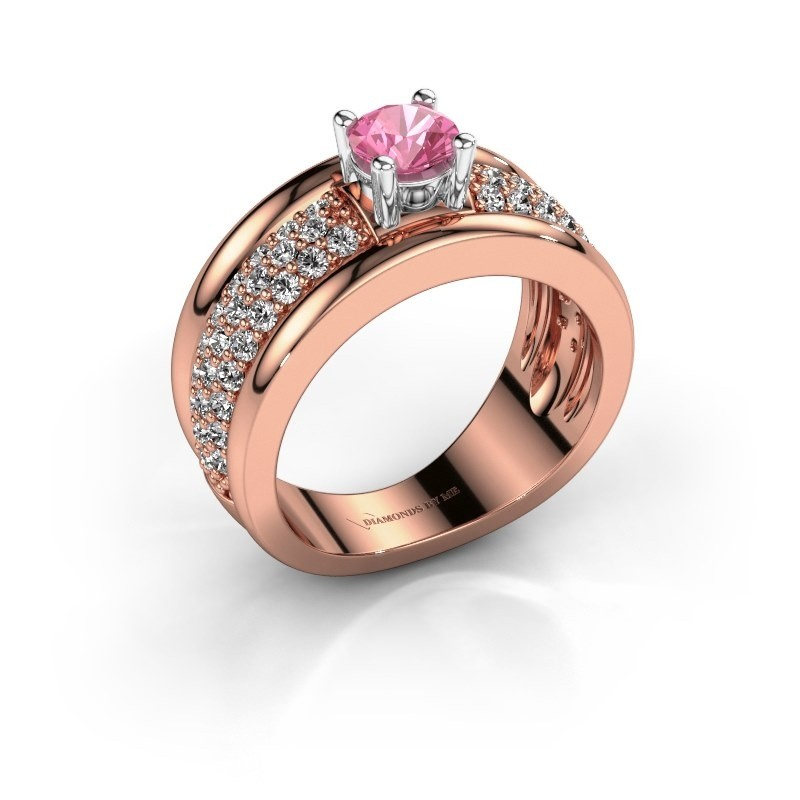 Ring Alicia 585 rosé goud roze saffier 5 mm