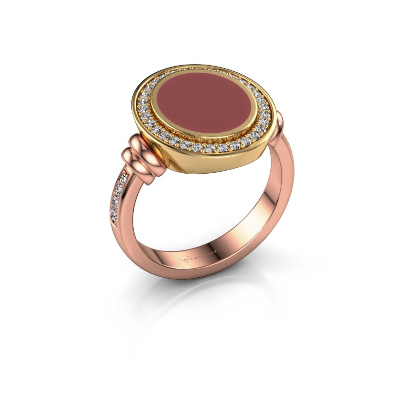 Siegelring Servie 2 585 Roségold Rot Emaille 12x10 mm