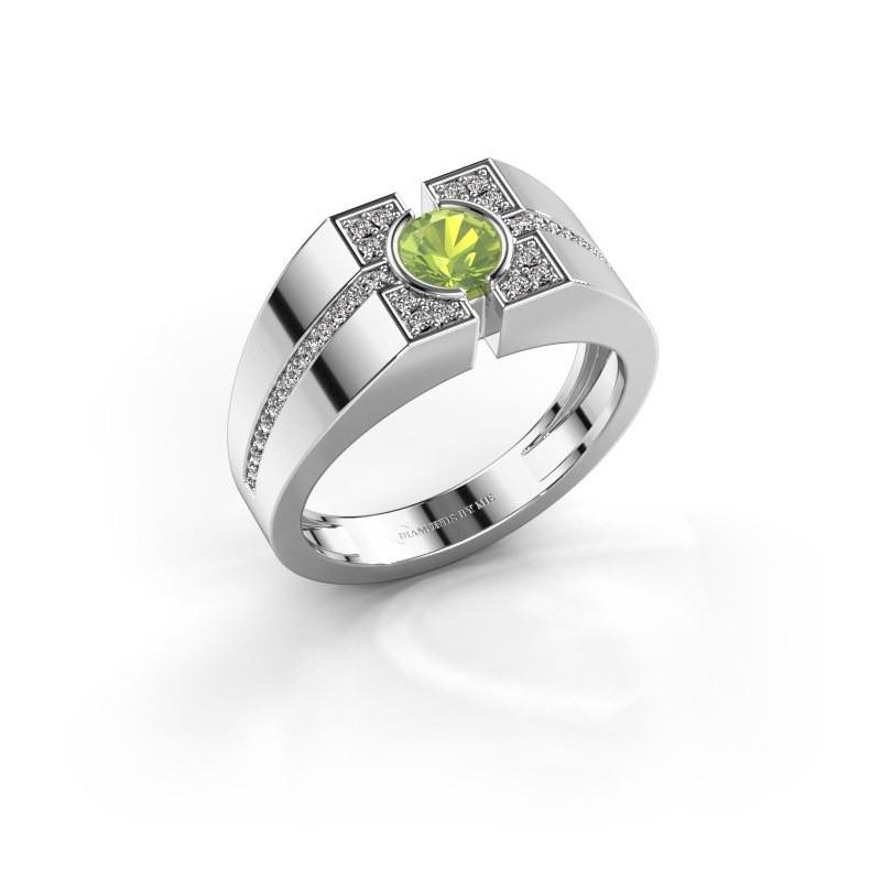 Men's ring Thijmen 950 platinum peridot 5 mm
