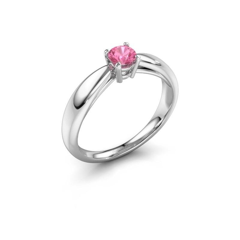 Verlovingsring Nichole 585 witgoud roze saffier 4.2 mm