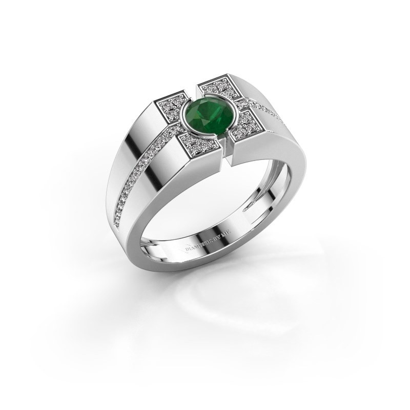 Men's ring Thijmen 375 white gold emerald 5 mm