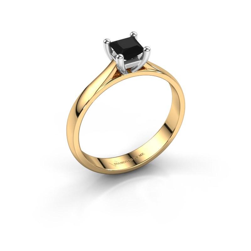 Bague de fiançailles Sam Square 585 or jaune diamant noir 0.48 crt