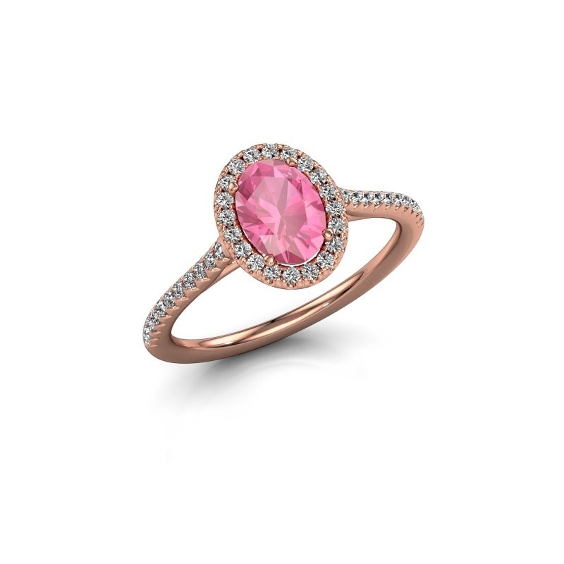 Engagement ring Seline 2 375 rose gold pink sapphire 7x5 mm