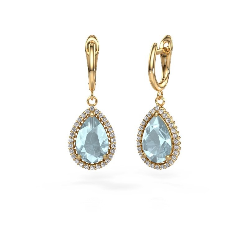 Drop earrings Tilly per 3 585 gold aquamarine 12x8 mm