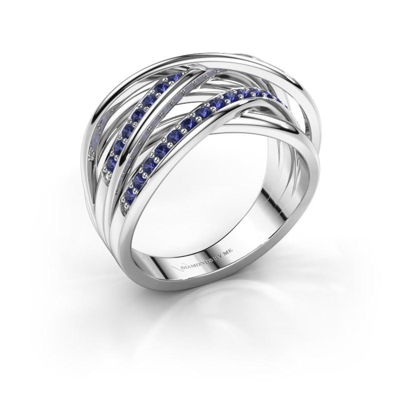 Ring Fem 2 585 white gold sapphire 1.5 mm